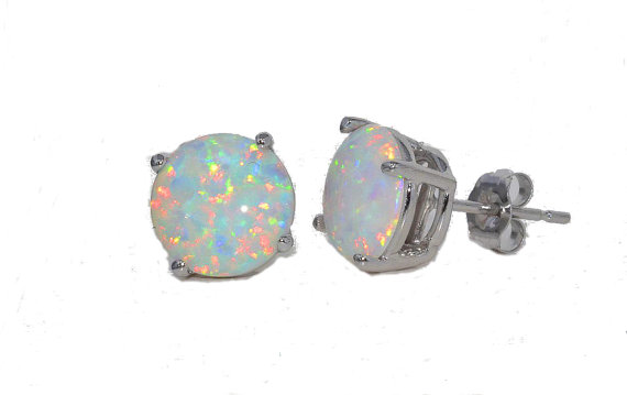 Opal Round Stud Earrings 14Kt Yellow Gold