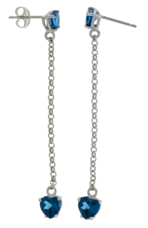 3 Carat London Blue Topaz 8x6mm Stud Earrings White Gold Silver