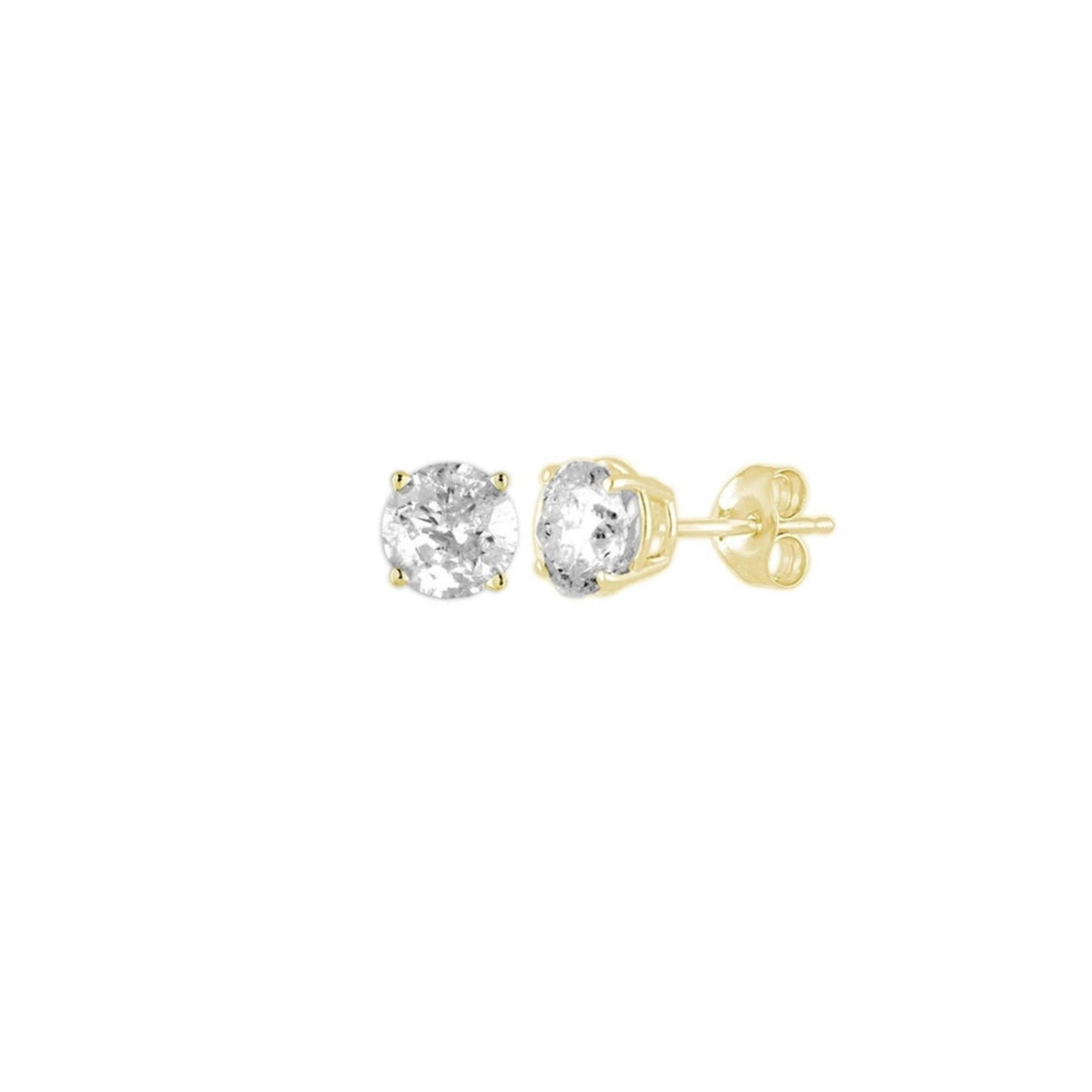 Details About 14kt Yellow Gold 0 15 Ct Genuine Natural Diamond Round Stud Earrings