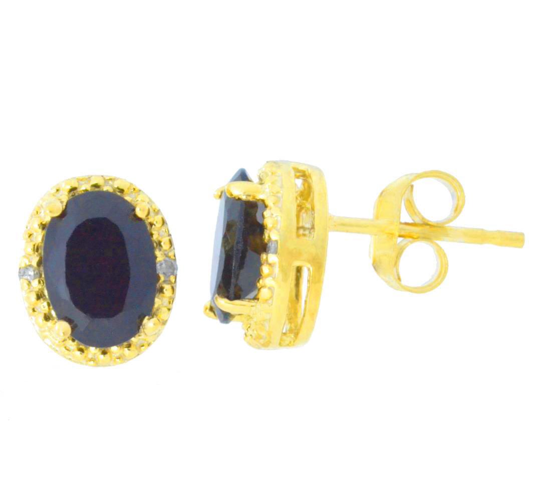 2 Ct Genuine Black Onyx /& Diamond Oval Stud Earrings 14Kt Yellow Gold Plated