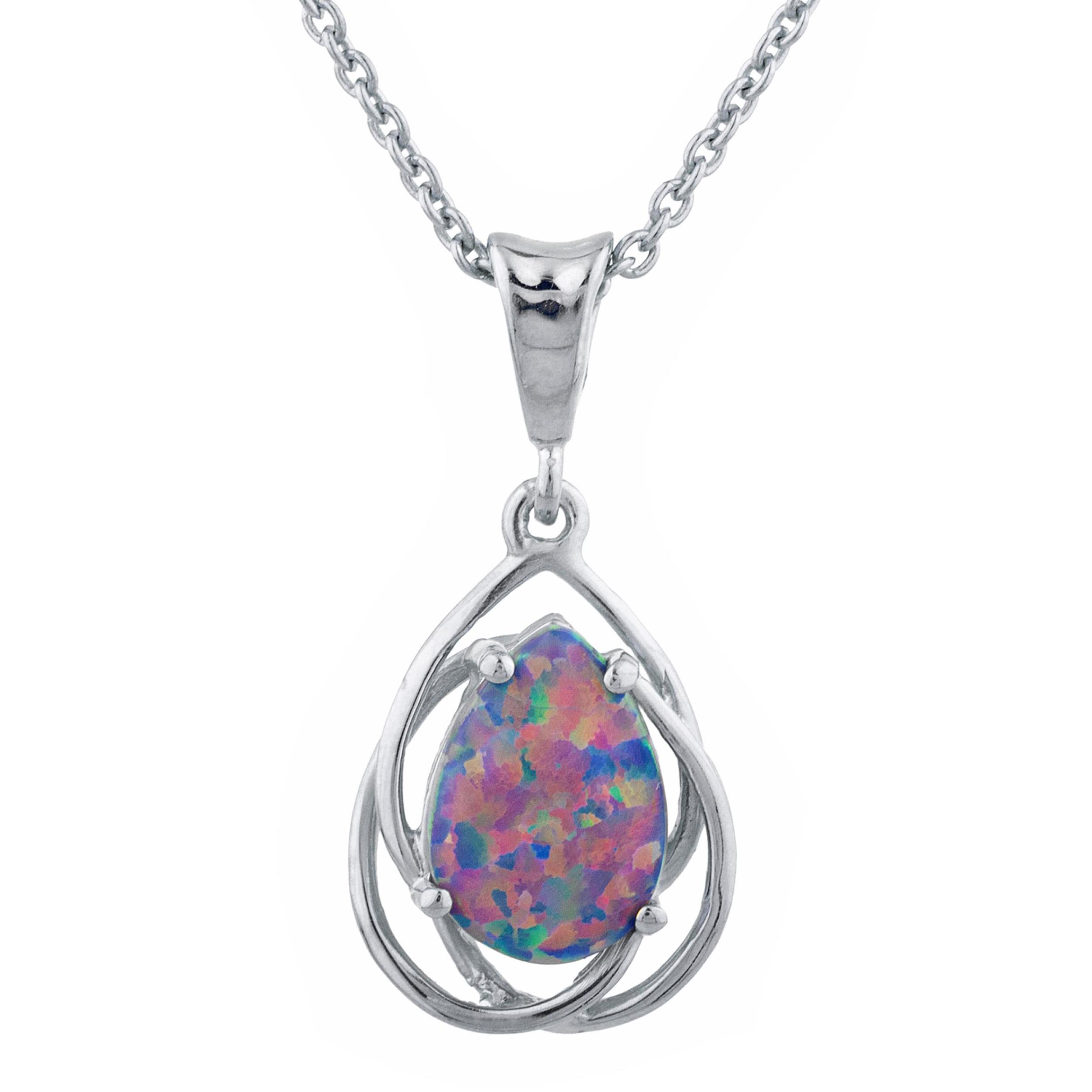 Teardrop Pear Shape Created Opal with CZ 925 Sterling Silver Small Pendant