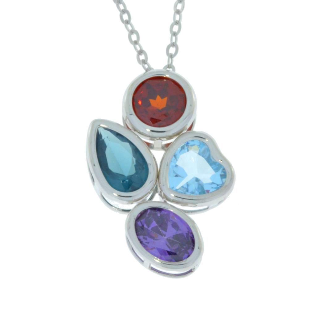 Aquamarine London Topaz Amethyst /& Garnet Bezel Pendant .925 Sterling Silver
