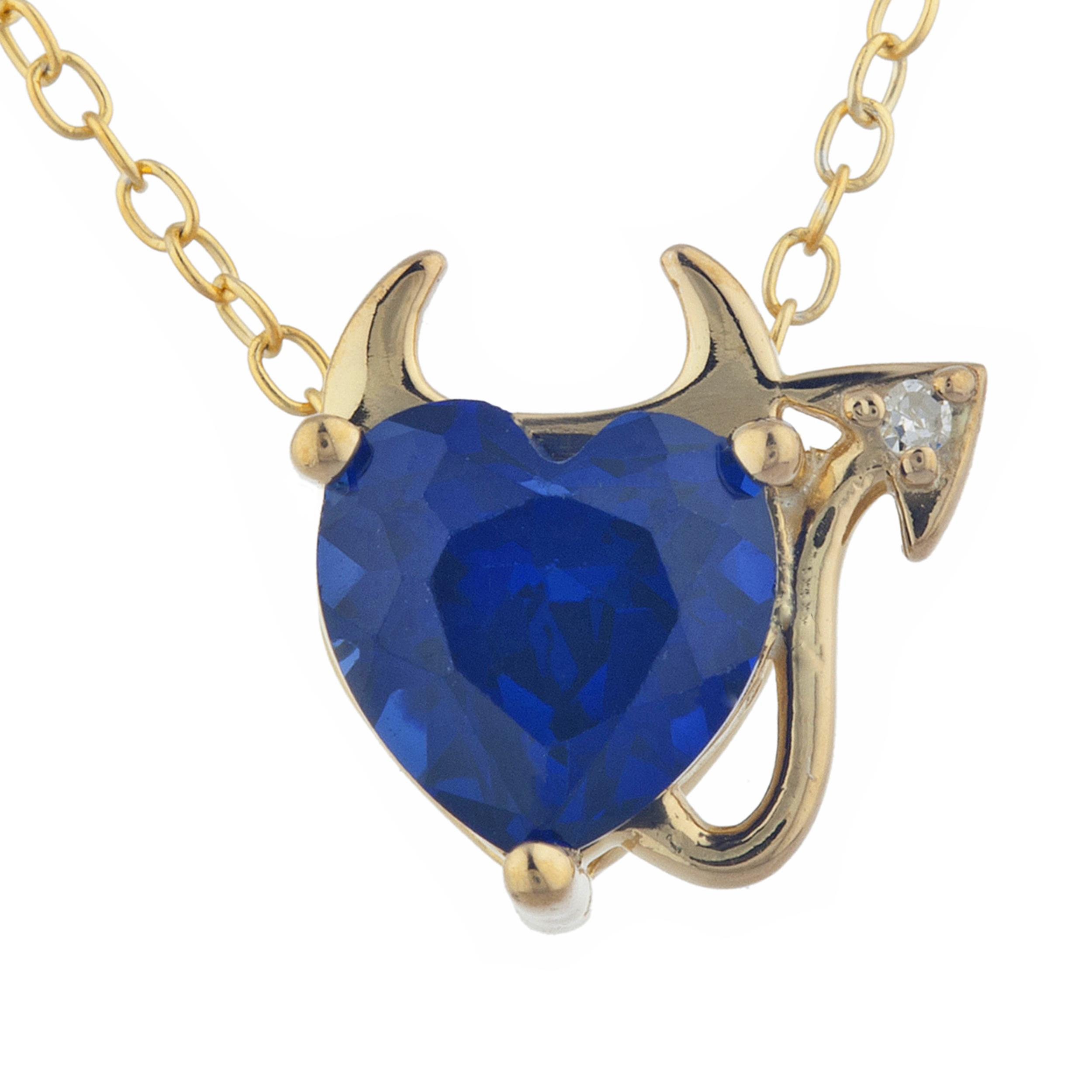 """Heart Shape Peridot Devil Heart Pendant Necklace With 18/"""" Chain 18kt Gold Over"""