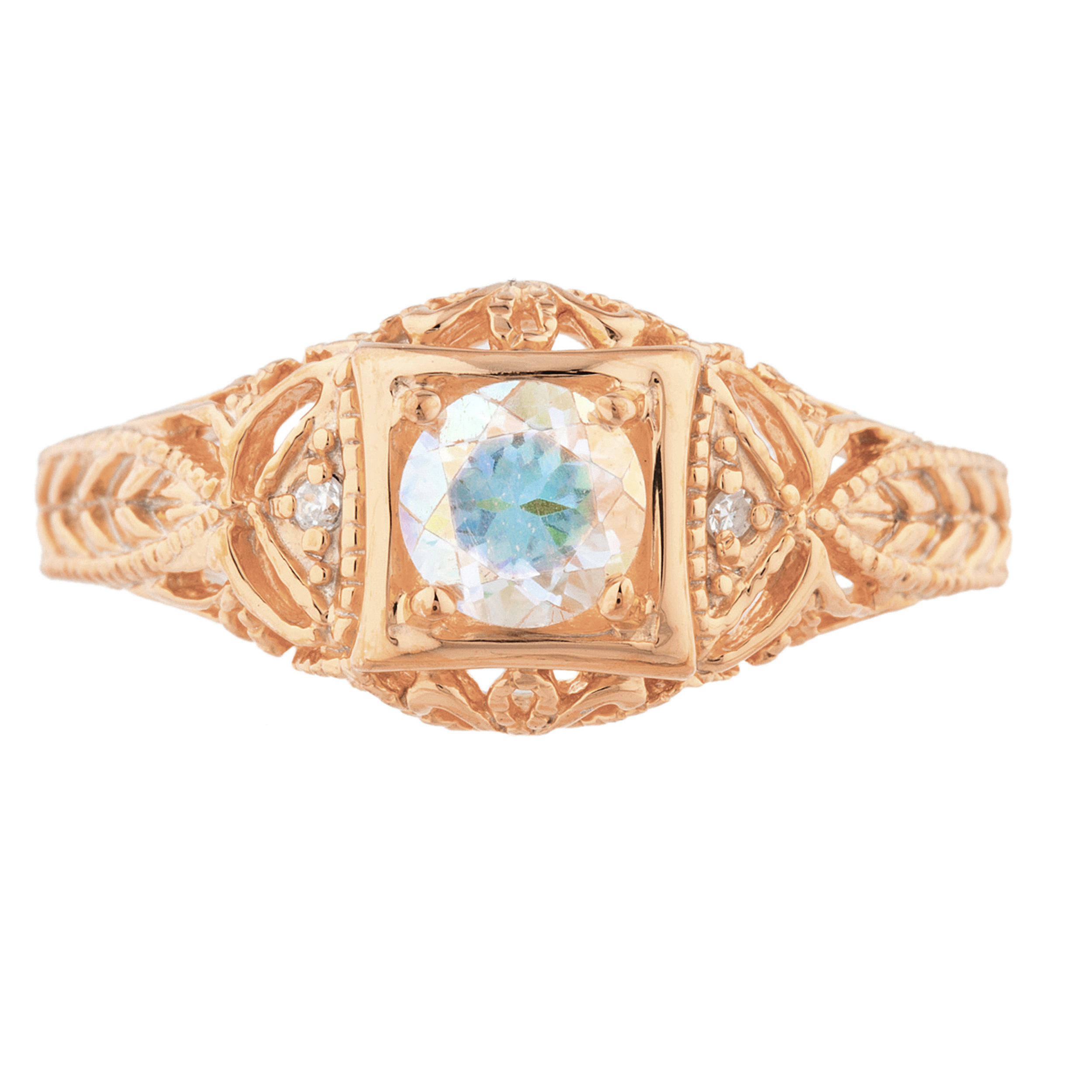 0.50 Ct Natural Mercury Mist Mystic Topaz /& Diamond Round Ring 14Kt Yellow Gold Rose Gold Silver