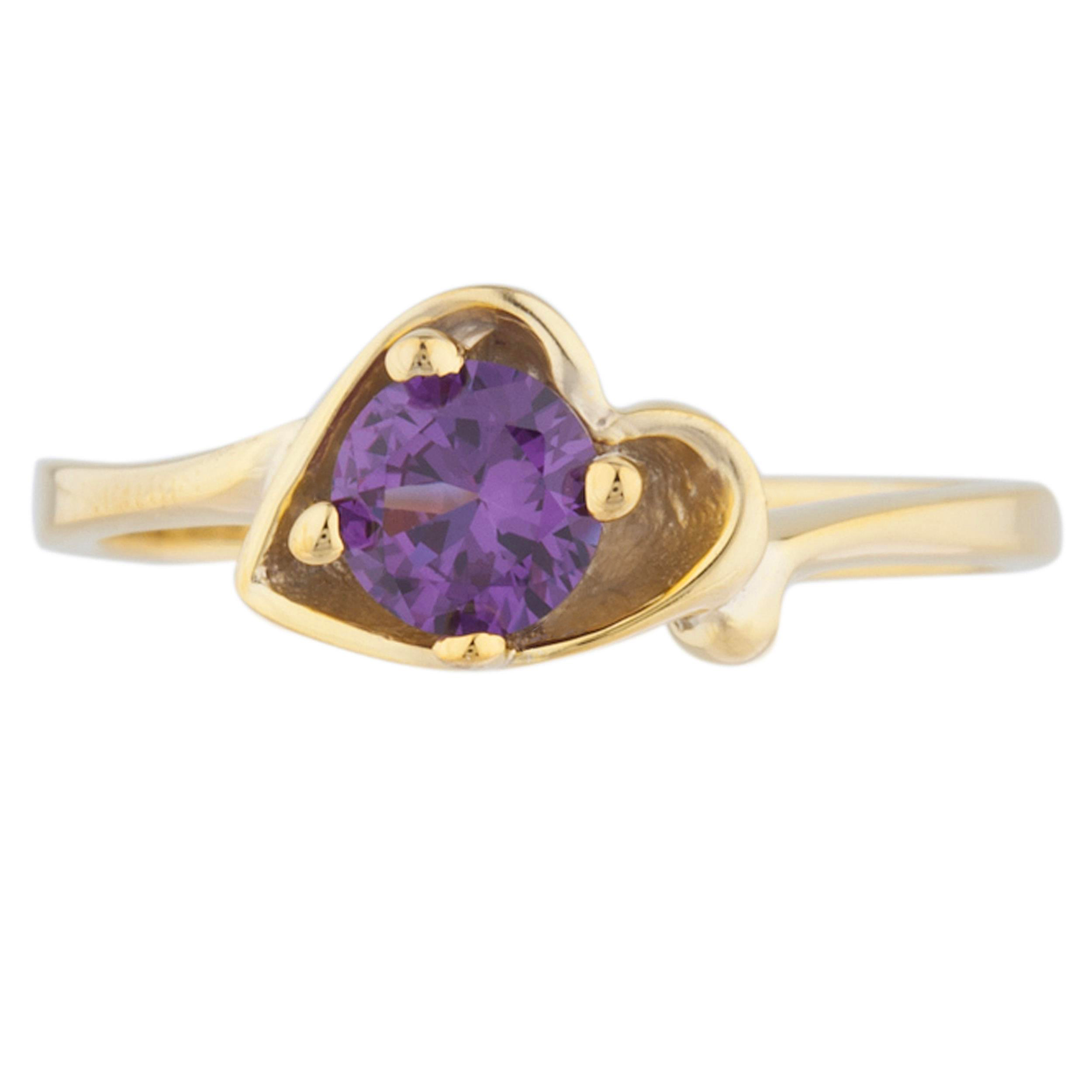 Alexandrite Round Heart Shape Ring .925 Sterling Silver