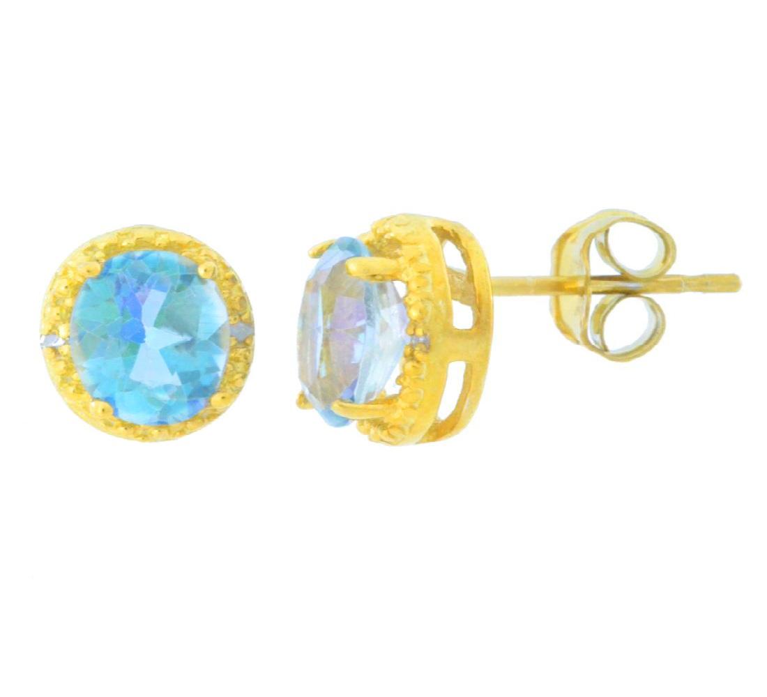 14K Yellow Gold 1.60 Ct Oval 7x5mm Mercury Mist Mystic Topaz Stud Earrings